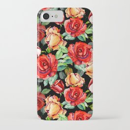 Hand painted black red watercolor roses floral iPhone Case