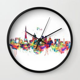 Paris Skyline Silhouette Wall Clock