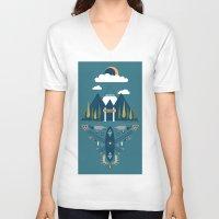 explore V-neck T-shirts featuring explore by Zachary Kiernan