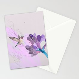Hummingbird with purple flower watercolor Stationery Cards