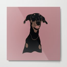 Doberman - Pink Diamond Metal Print