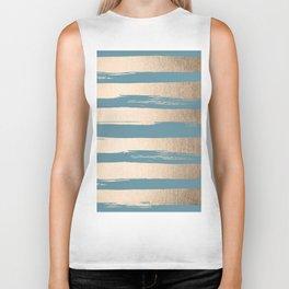 Painted Stripes Gold Tropical Ocean Blue Biker Tank