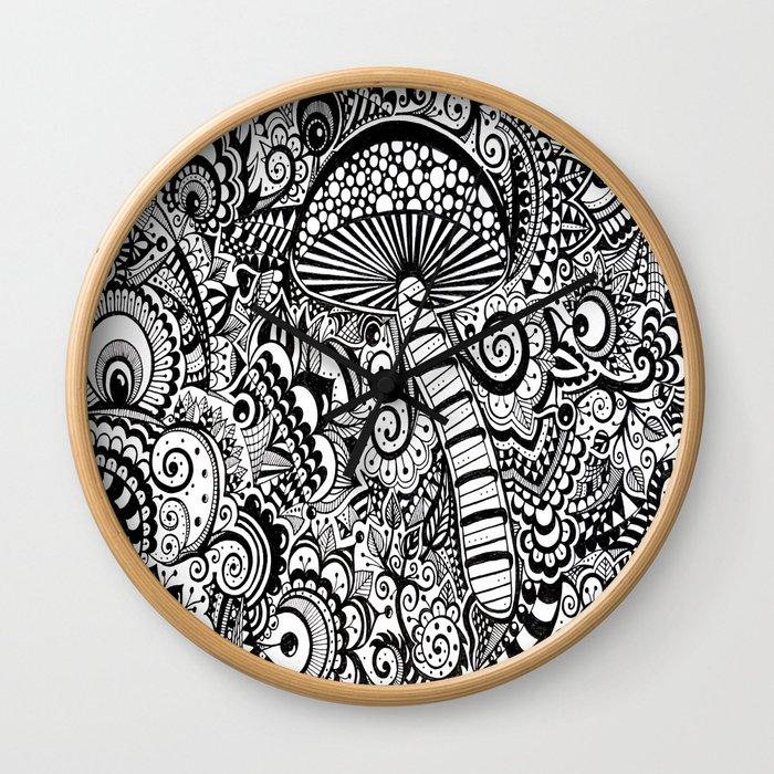 Magic Mushroom Black and white Wall Clock