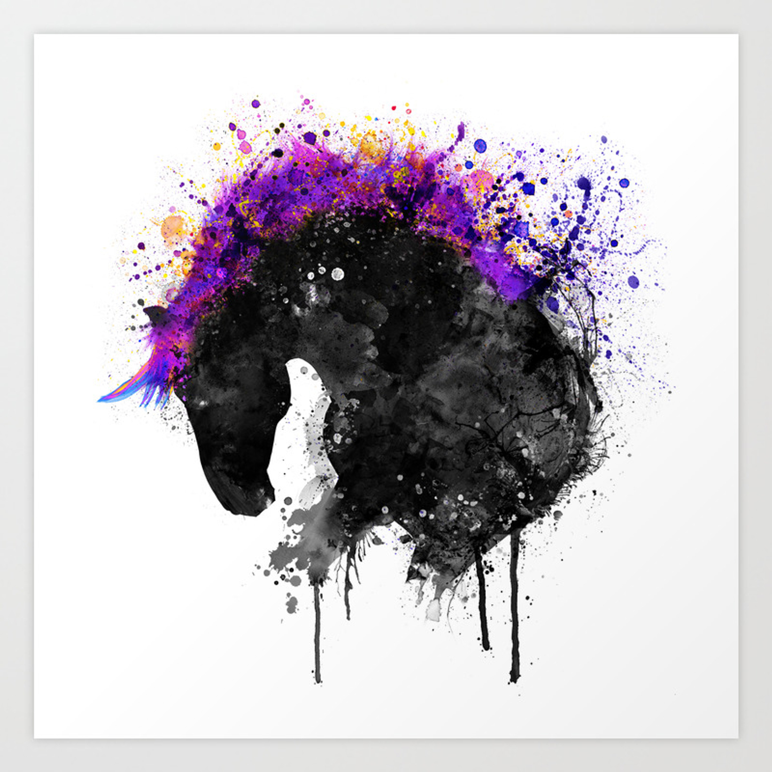Horse Head Watercolor Silhouette Art Print By Marianvoicu Society6