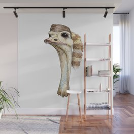 Ostrich in a Coonskin Hat Wall Mural