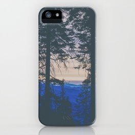 blue mountain layers through the trees iPhone Case