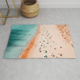 Beach Art, Aerial Ocean Print, People And Umbrellas On Beach Print, Portugal Beach, Sea Print, Coastal Decor, Ocean Poster, Portugal Beach, Aerial Beach, Printable Art Rug