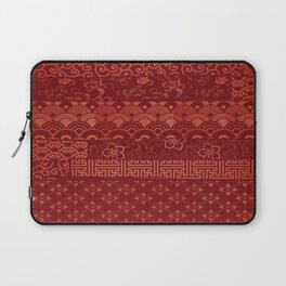 Japanese Seamless Red Patterns Symbols Laptop Sleeve