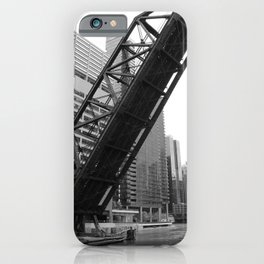 Kinzie Street Bridge - Black & White iPhone Case