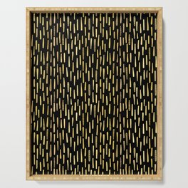 Black Gold Foil Lines Stripes Pattern Seamless Vector Hand Drawn Serving Tray