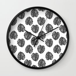 Monstera house plant leaf black and white painting  hipster indoor house plant tropical garden   Wall Clock