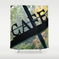 cafe Shower Curtains featuring Cafe by Kasia Wo