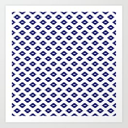 Navy Woven Diamonds Art Print