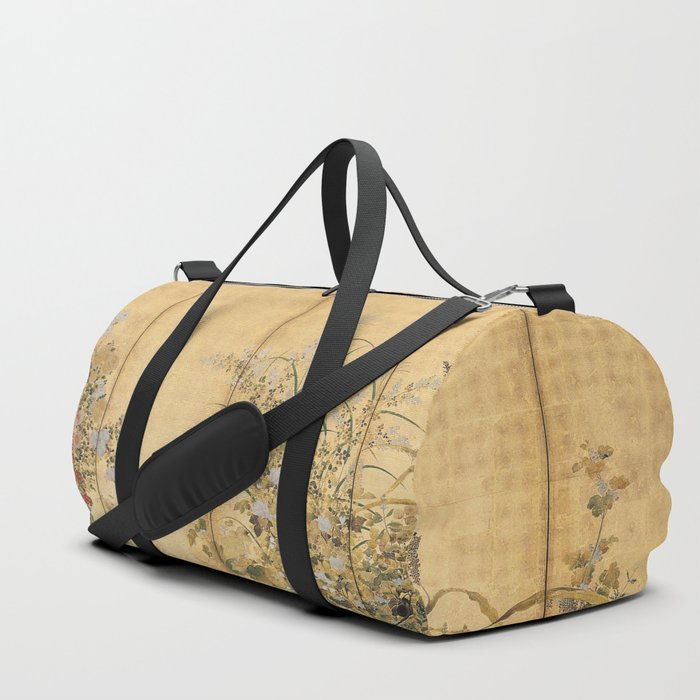 Japanese Edo Period Six-Panel Gold Leaf Screen - Spring and Autumn Flowers Duffle Bag