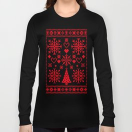 Christmas Cross Stitch Embroidery Sampler Red And White Long Sleeve T-shirt