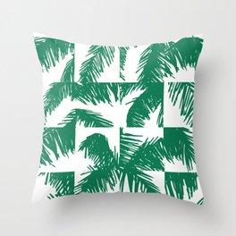 Palm Leaf Pattern Green Throw Pillow