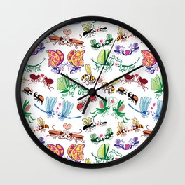 Funny insects falling in love posing for a pattern design Wall Clock
