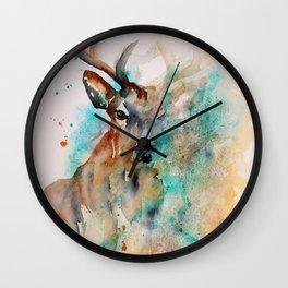 Abstract Deer Watercolor Wall Clock