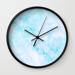 Blue Marble - Shimmery Turquoise Blue Sea Green Marble Metallic Wall Clock