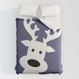 Reindeer on blue background Comforters