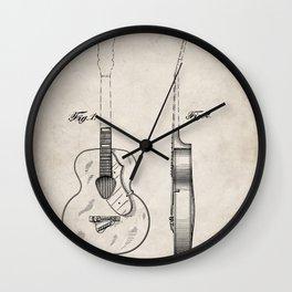 Accoustic Guitar Patent - Classical Guitar Art - Antique Wall Clock