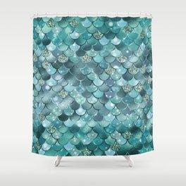 Mermaid Scales Aqua Turquoise Mermaid Pattern Shower Curtain
