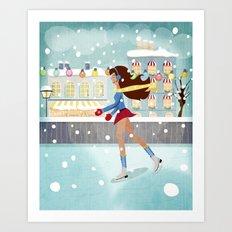 Ice Skating Girl Art Print