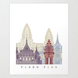 Phnom Penh skyline poster Art Print