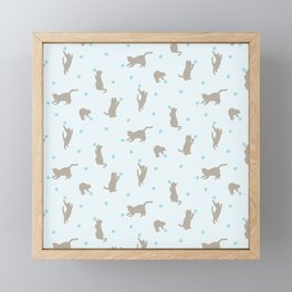 Polka Dot Cats in Blue Framed Mini Art Print