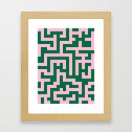 Cotton Candy Pink and Cadmium Green Labyrinth Framed Art Print