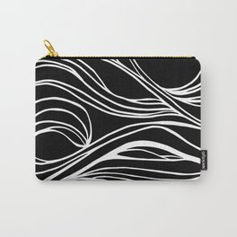 Abstract Swirling Waves / Black and White Carry-All Pouch