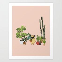 Pug and Plants Art Print