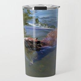 Beaver swimming on a lake Travel Mug