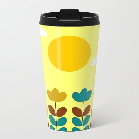 Flowers with bees Metal Travel Mug