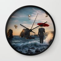 magritte Wall Clocks featuring A la Magritte by Susann Mielke