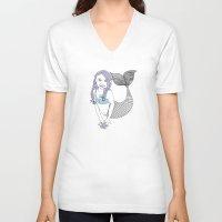 mermaids V-neck T-shirts featuring mermaids by Wee Jock