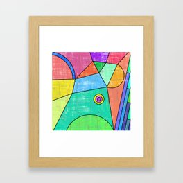 Colorful geometric abstract print, primary colors print Framed Art Print