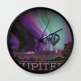 Jupiter Retro Space Tourism Poster Wall Clock