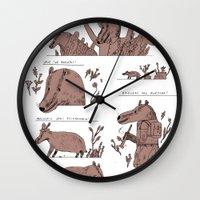 badger Wall Clocks featuring badger by Jon Boam
