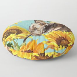 Highland Cow with Sunflowers in Blue Floor Pillow