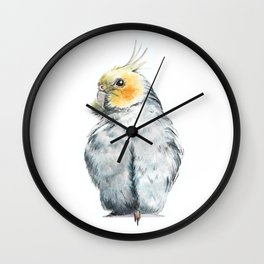 Cockatiel watercolor illustration Wall Clock