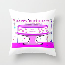 A Your Special Day Birthday Cake in Pink Shades Throw Pillow