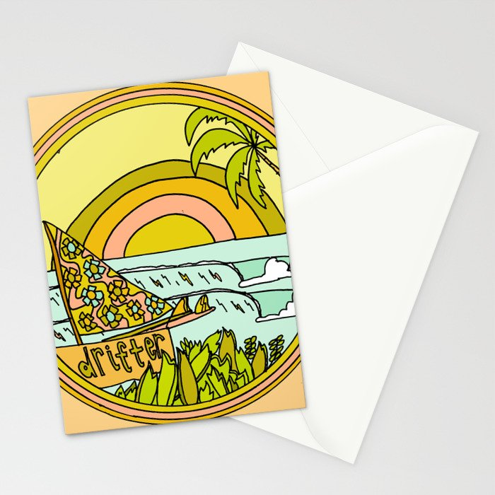 drifting to paradise surf art by surfy birdy Stationery Cards