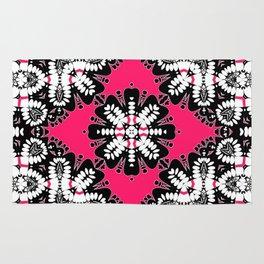 Geometric Tribal Hot Pink & Black Rug