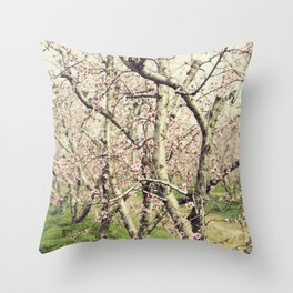 Peach Trees Throw Pillow