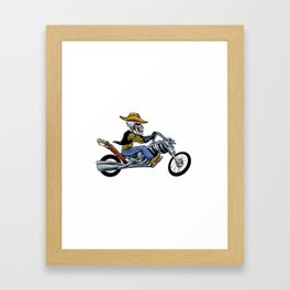 skull ride a big motorcycle Framed Art Print
