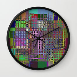 Pastel Playtime - Abstract, geometric, textured, pastel themed artwork Wall Clock