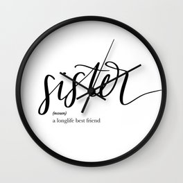 Sister Quote Definition Wall Clock