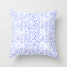 Periwinkle Damask Throw Pillow