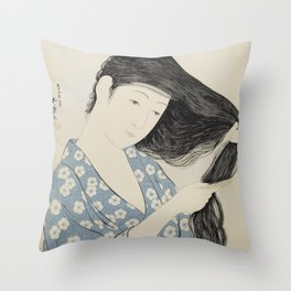 Hashiguchi Goyo: Woman Combing Her Hair Japanese Woodblock Print Blue Floral Kimono Black Hair Throw Pillow